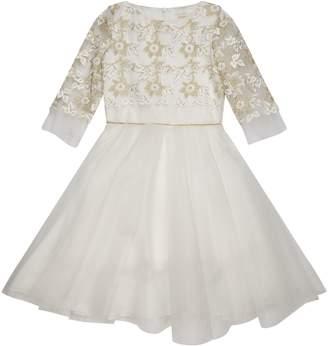 David Charles Embroidered Three Quarter Sleeve Dress