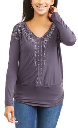 Generic Women's Long Sleeve V-Neck Embellished Front Peasant Top