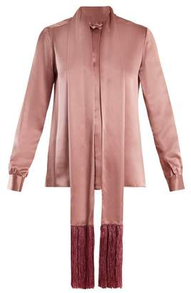 Hillier Bartley - Fringe Trimmed Silk Satin Blouse - Womens - Pink