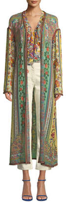 Etro Long Ribbon-Trimmed Floral Silk Coat