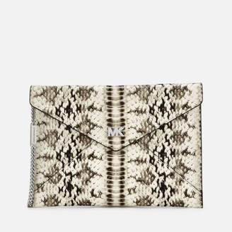 MICHAEL Michael Kors Women's Snakeskin Envelope Clutch Bag - Natural