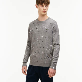 at Lacoste Lacoste Men\u0027s LIVE Crew Neck Speckled Print Jersey Sweater