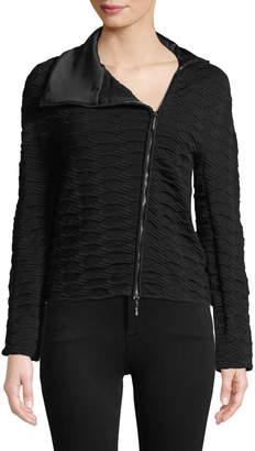 Asymmetric-Zip Textured Knit Jacket w/ Satin Collar