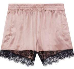 Fleur Du Mal Margo Lace-Trimmed Satin Pajama Shorts