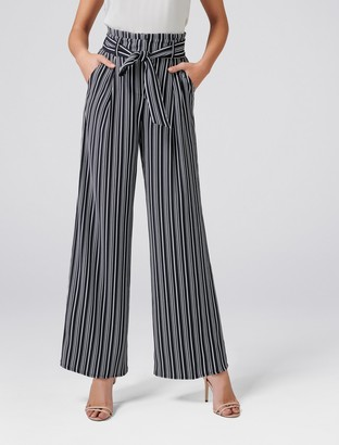Forever New Andie High Waist Wide Leg Pants - Stripe - 4