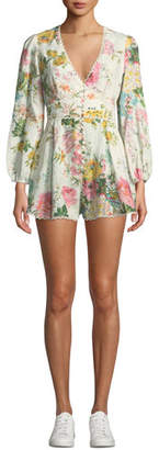 Zimmermann Heathers Plunging Floral Long-Sleeve Linen Romper
