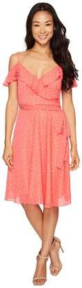 Tahari ASL Petite Dotted Chiffon Sundress Women's Dress