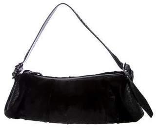 Tod's Python-Trimmed Fur Barrel Bag
