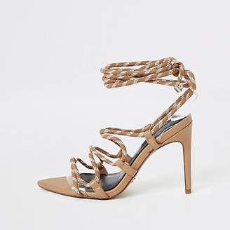 River Island Beige lace-up skinny heel sandal