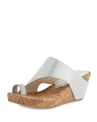Donald J Pliner Gille Asymmetric Wedge Slide Sandal, Silver $218 thestylecure.com