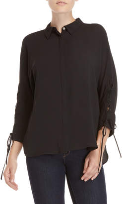 Vince Camuto Black Lace-Up Sleeve Shirt