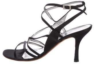Gianni Versace Satin Multistrap Sandals