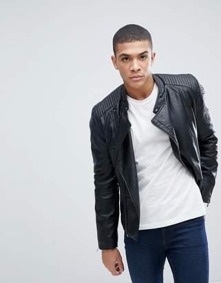 Celio Faux Leather Biker Jacket