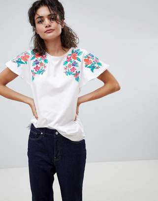 MANGO embroidered shoulder t-shirt in white