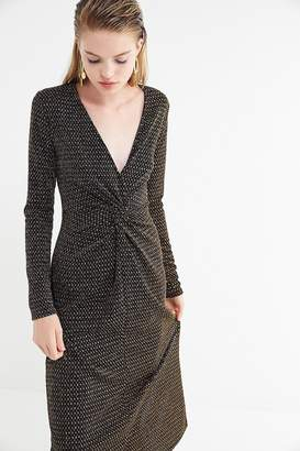Urban Outfitters Plunging Twist-Front Midi Dress