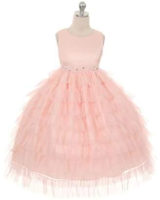 Kids Dream Ella- Mesh Layered Princess Dress Peach
