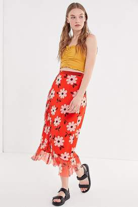 Urban Outfitters Edie Floral Mesh Ruffle Midi Skirt