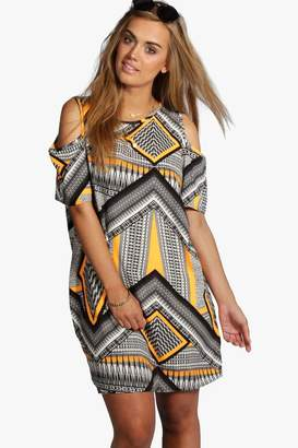 boohoo Plus Aztec Print Open Shoulder Shift Dress