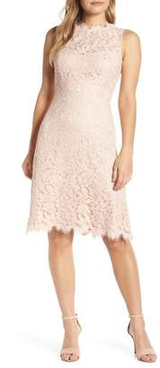 Eliza J High Neck Lace Sheath Dress (Regular & Petite)