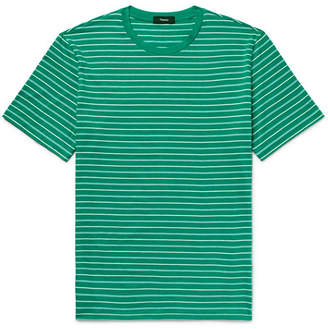 Theory Clean Slim-Fit Striped Pima Cotton-Jersey T-Shirt - Green