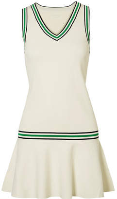 Tory Sport Striped Stretch-knit Mini Dress - Off-white