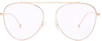 Fendi Round Frame Stainless Steel Aviator Glasses - Womens - Rose Gold