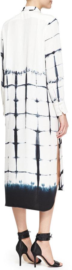 ADAM by Adam Lippes Long-Sleeve Printed Shirtdress, White/Black