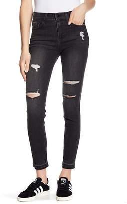 SP Black Mid Rise Released Hem Destructed Skinny Jeans