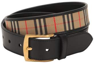Burberry 35mm Leather & Checked Cotton Belt