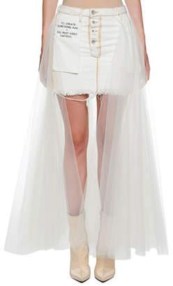 Unravel Tulle-Back Washout Denim Skirt