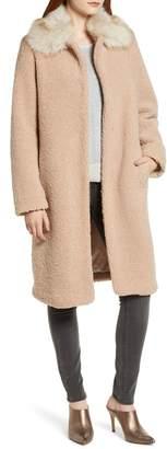 Bernardo Textured Coat with Faux Fur Collar