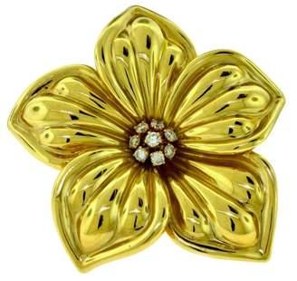 Van Cleef & Arpels 18K Yellow Gold Magnolia Brooch