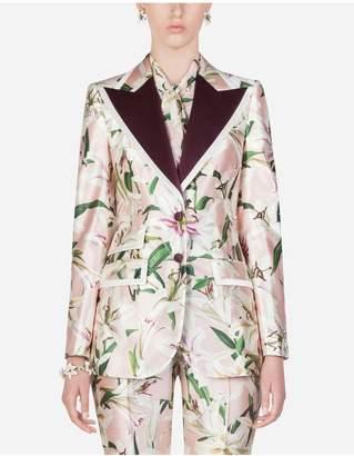 Dolce & Gabbana Lily-Print Shantung Blazer