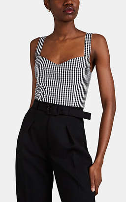 Barneys New York Women's Gingham Cotton Crop Bustier Top - Wht.&blk.