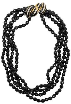 Kenneth Jay Lane Jet Bead Necklace With Clear Rhinestone Clasp