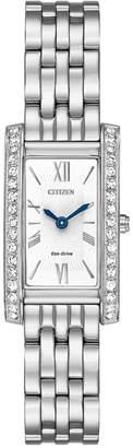 Citizen Eco-Drive Women Silhouette Crystal Jewelry Stainless Steel Bracelet Watch 18x32mm EX1470-51A