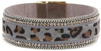 Riah Fashion Leopard-Leather-Rhinestone Magnetic-Lock-Bracelet