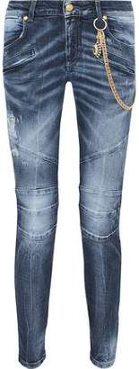Pierre Balmain Moto-Style Embellished Distressed Mid-Rise Skinny Jeans