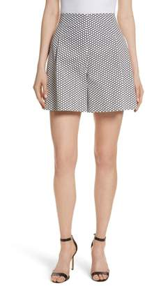 Diane von Furstenberg Dot High Waist Stretch Cotton Shorts