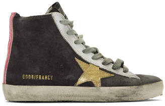 Golden Goose Grey and Gold Francy Sneakers