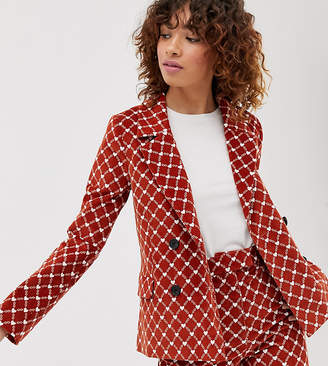 Monki heart chain print cord double breasted two-piece blazer in rust