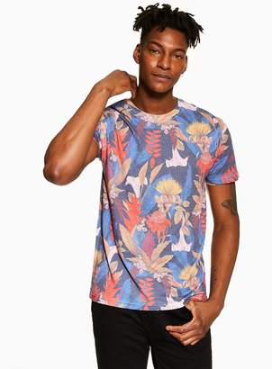 TopmanTopman Blue Floral Print T-Shirt