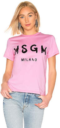 MSGM Brush Strokes Logo T-Shirt