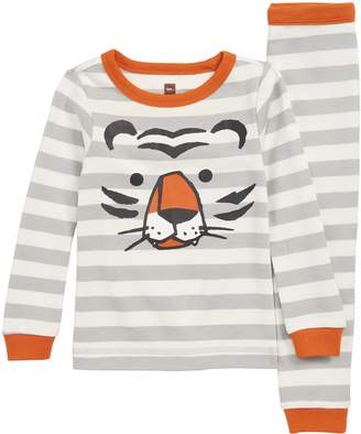 Tea Collection Stripe Tiger Fitted Two-Piece Pajamas