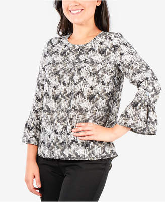 NY Collection Petite All-Over Print Bell-Sleeve Top