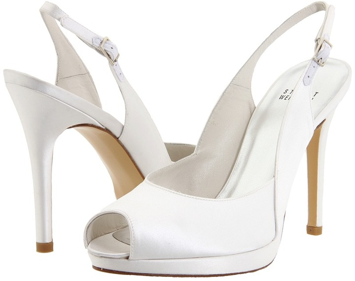 Stuart Weitzman & Evening Collection - Slingsong (White Satin) - Footwear