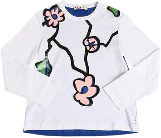 Marni Junior Flower Printed Cotton Jersey T-Shirt