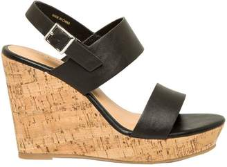 Le Château Women's Leather-Like Double Band Wedge Sandal
