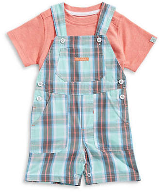 Calvin Klein Baby Boy's Logo Tee and Plaid Shortall Set
