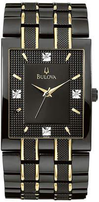 Bulova Men's Black IP Diamond Accent Watch